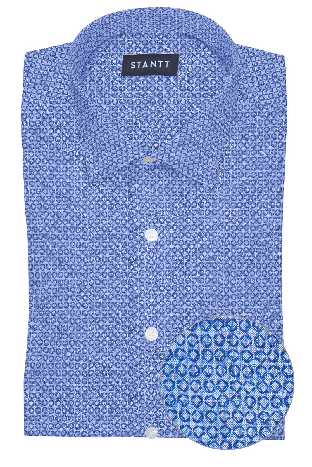 Chambray Geo Print: Modified-Spread Collar, French Cuff