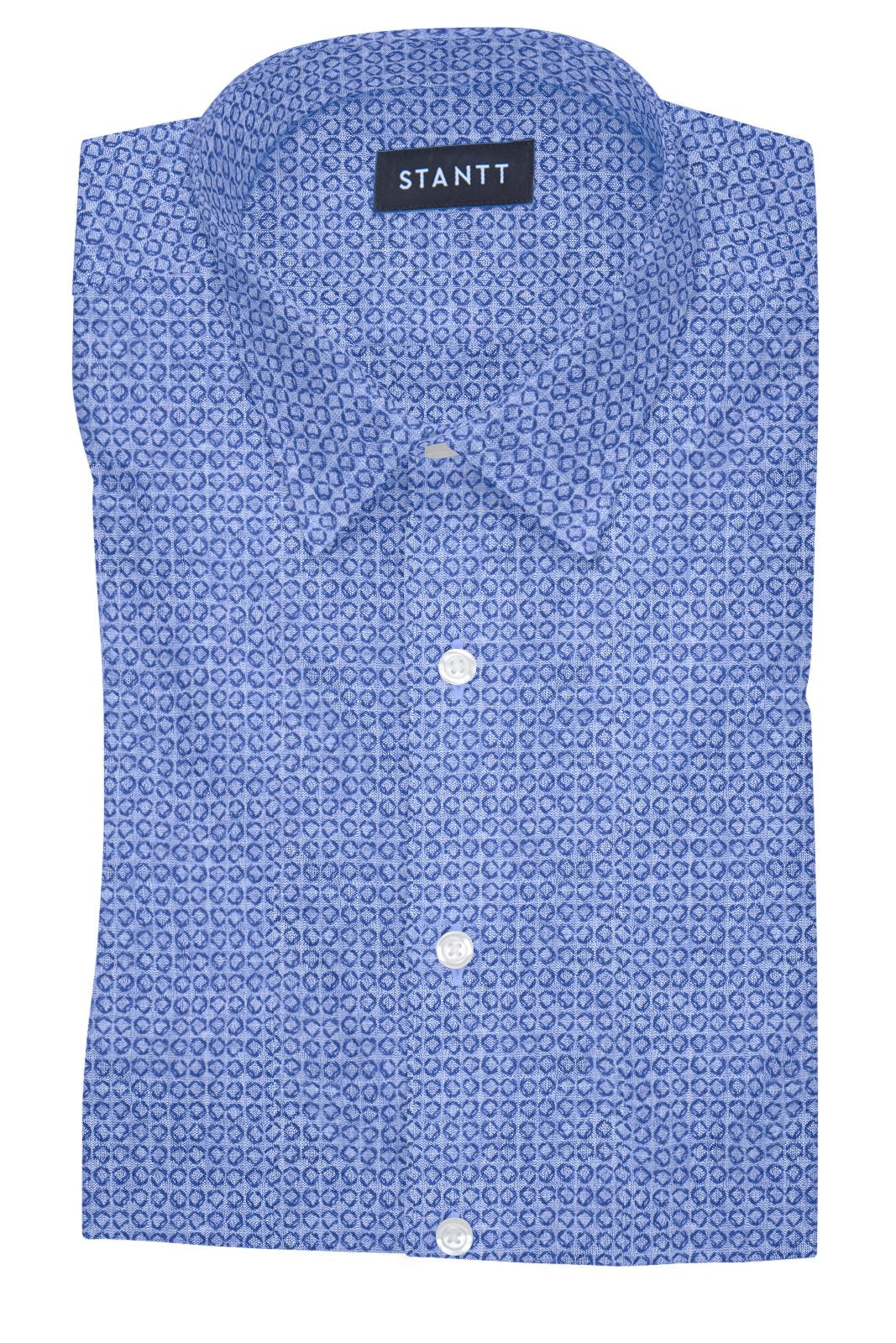Chambray Geo Print: Semi-Spread Collar, French Cuff