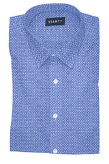 Chambray Geo Print: Semi-Spread Collar, Barrel Cuff