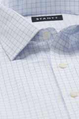 Blue Hairline Windowpane: Modified-Spread Collar, Barrel Cuff