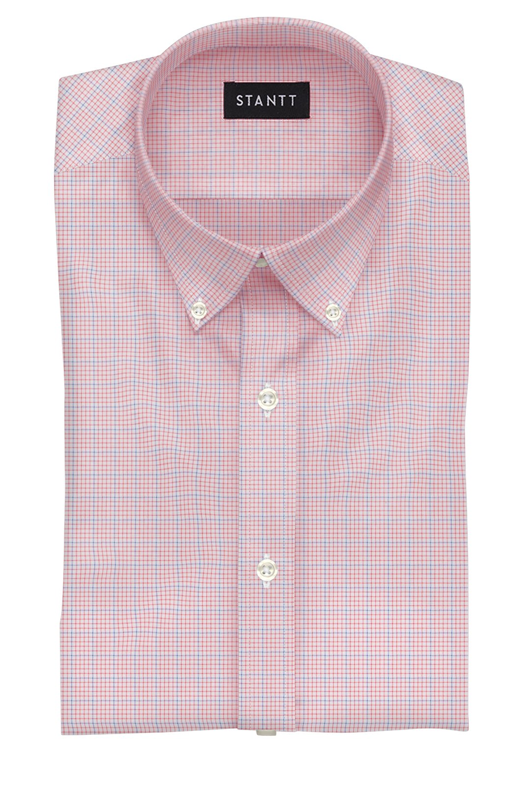 Crimson Red Grid Check: Button-Down Collar, Barrel Cuff