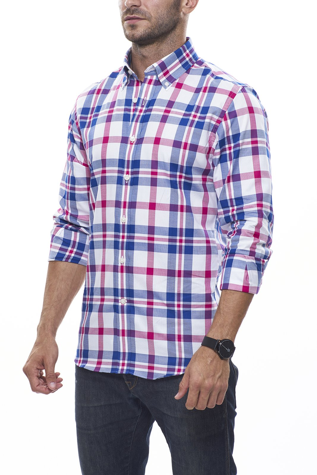 Deep Pink and Indigo Oversized Plaid Oxford: Semi-Spread Collar, French Cuff