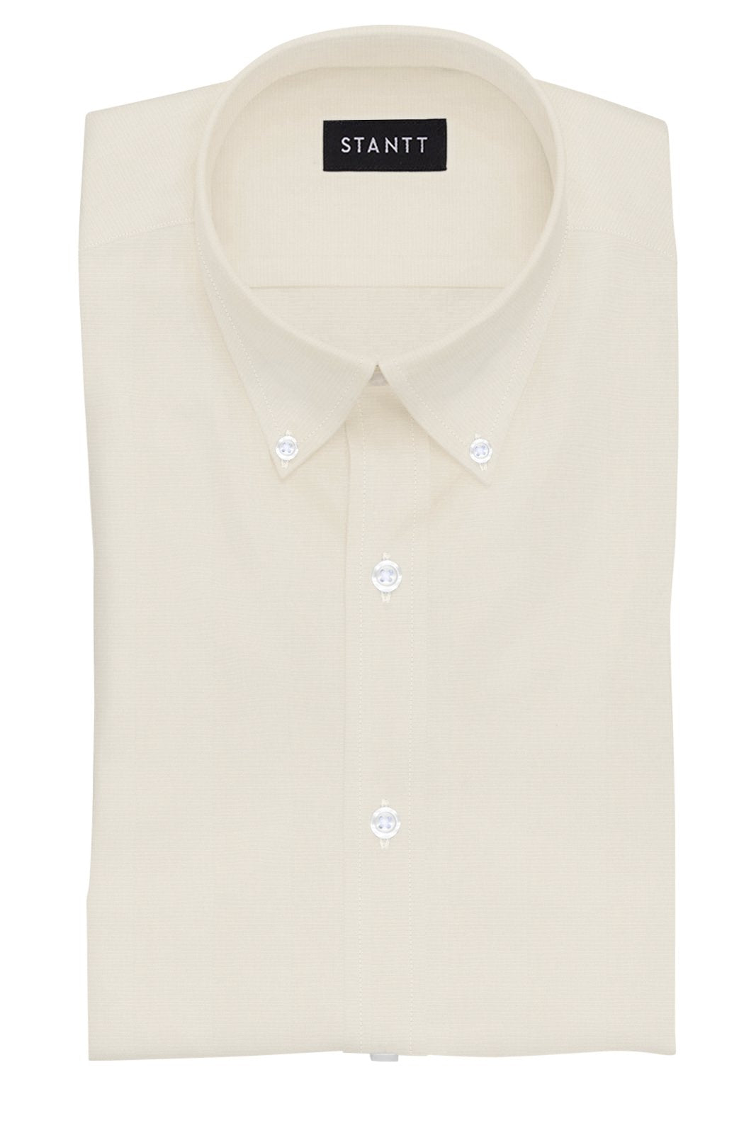 Ecru Poplin: Button-Down Collar, Barrel Cuff