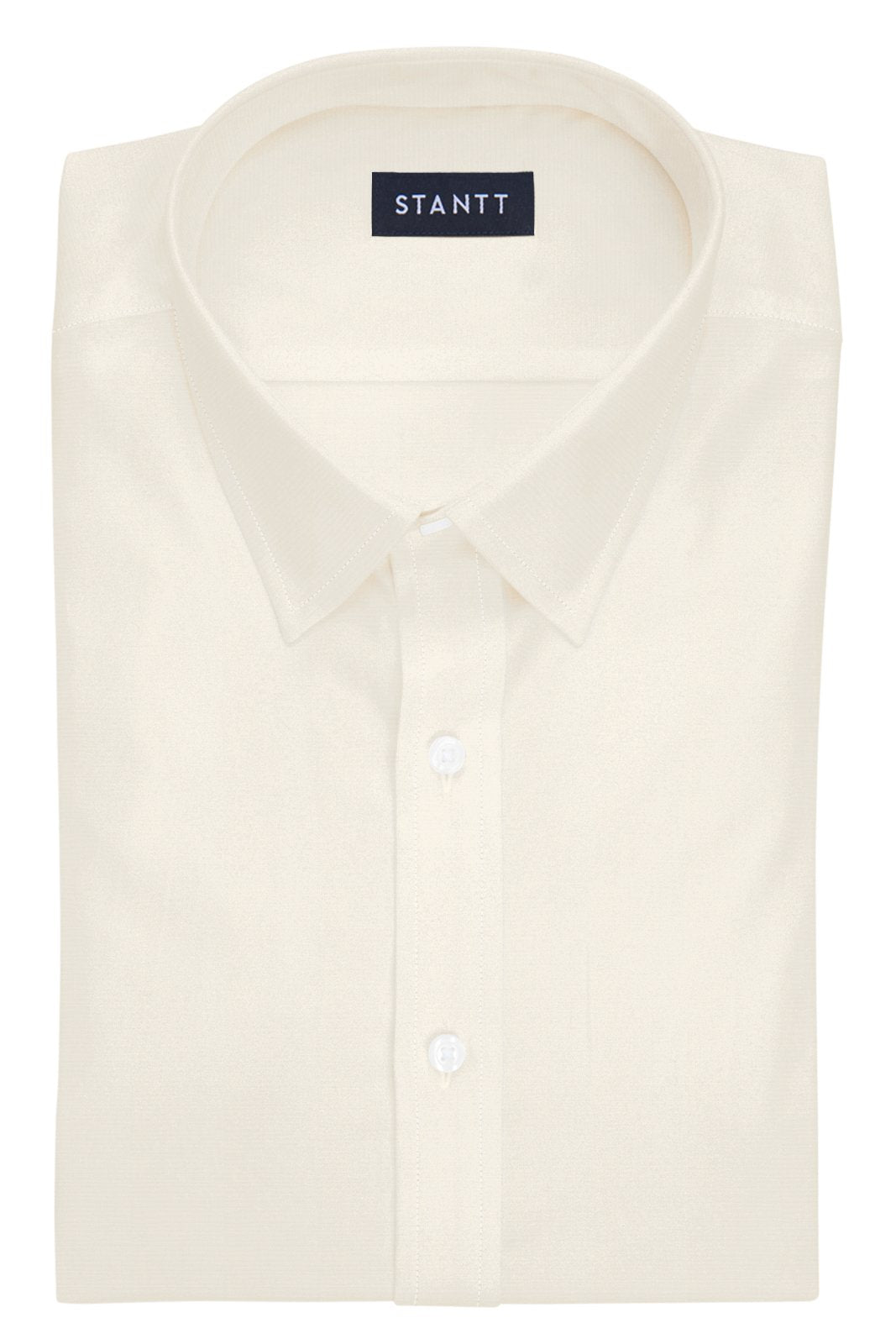Ecru Poplin: Semi-Spread Collar, French Cuff