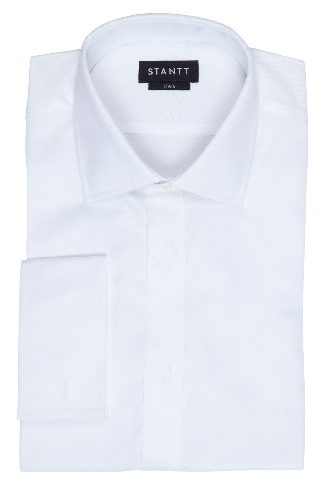 Fine White Twill Formal Shirt: Modified-Spread Collar, French Cuff, Hidden Placket