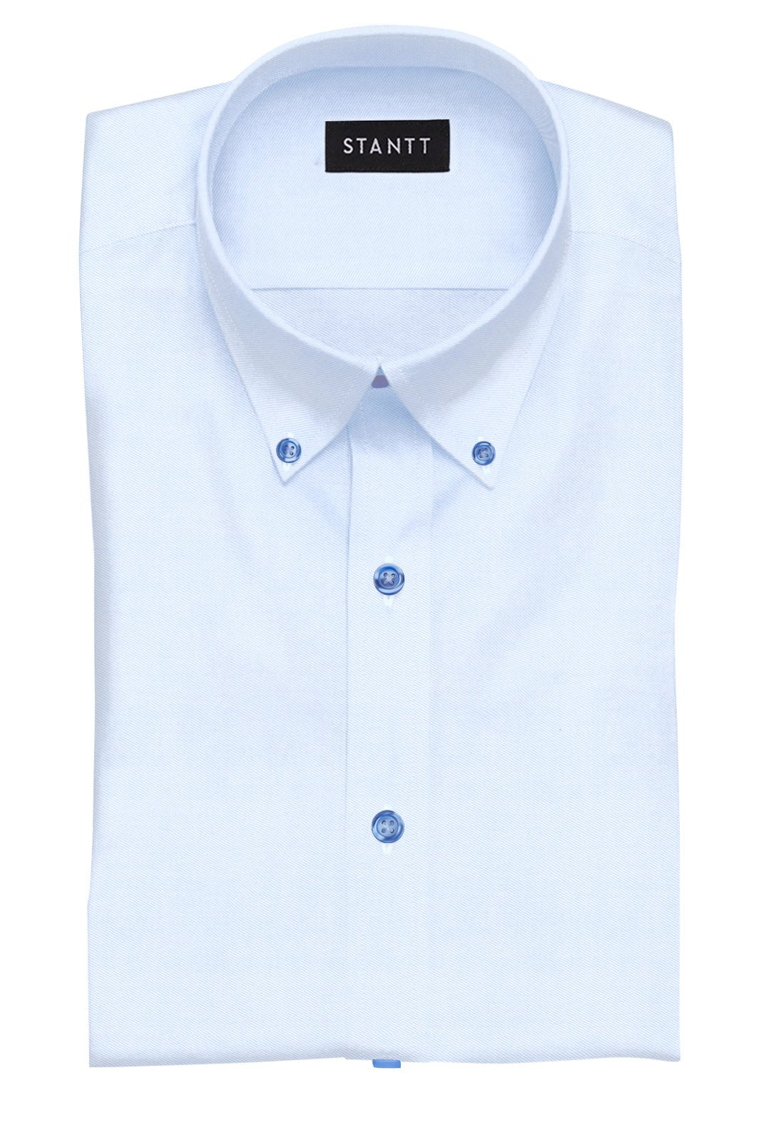 Navy Button on Wrinkle-Resistant Light Blue Twill: Button-Down Collar, Barrel Cuff