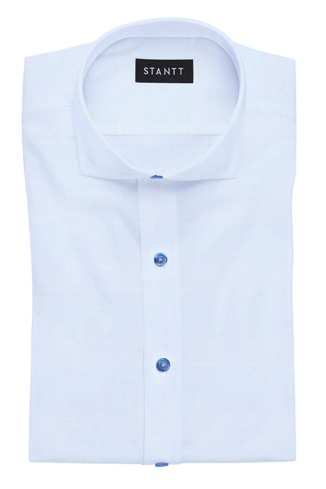 Navy Button on Wrinkle-Resistant Light Blue Twill: Cutaway Collar, French Cuff