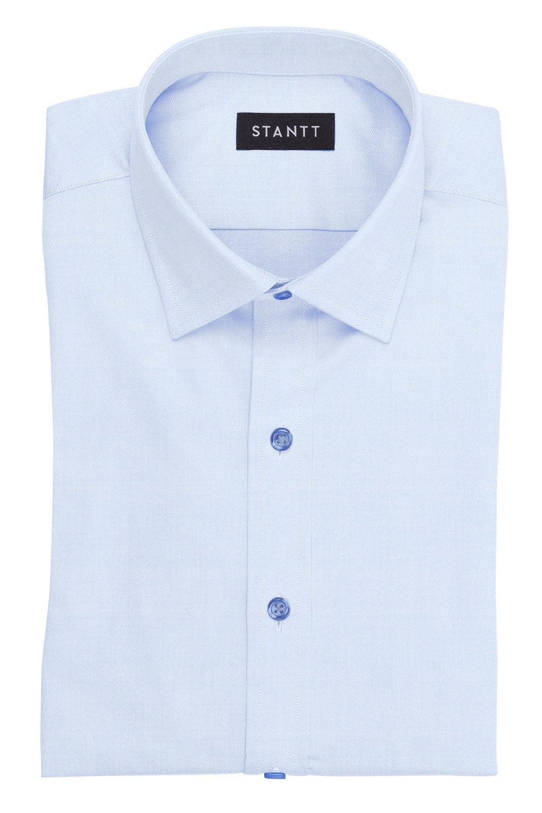 Navy Button on Wrinkle-Resistant Light Blue Twill: Modified-Spread Collar, Barrel Cuff
