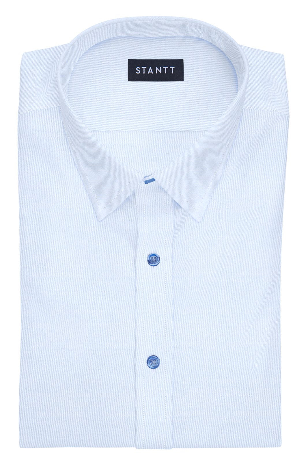 Navy Button on Wrinkle-Resistant Light Blue Twill: Semi-Spread Collar, French Cuff