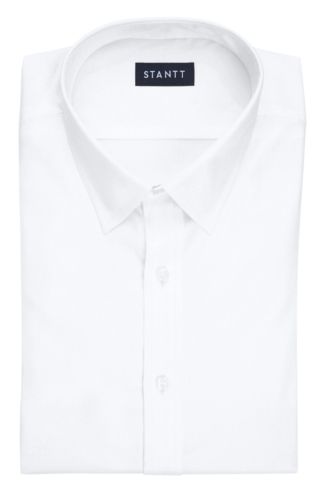 Fine White Poplin: Semi-Spread Collar, Barrel Cuff
