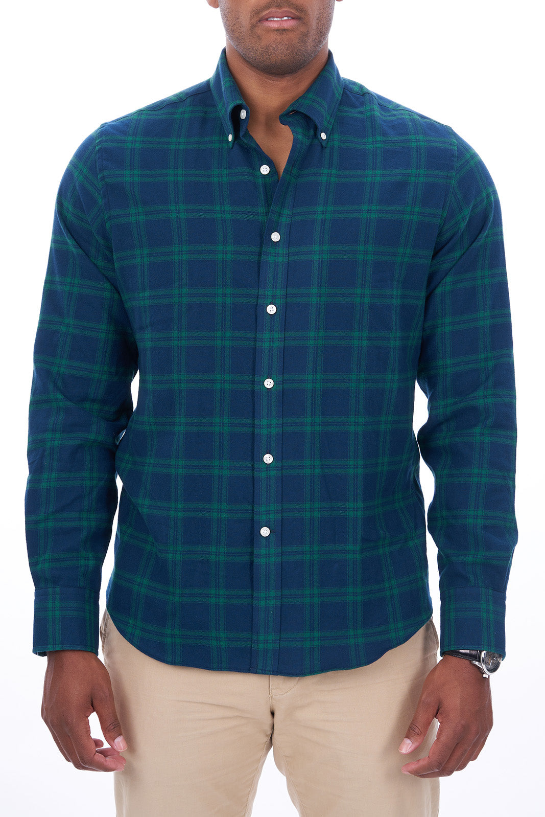 Green Tartan Plaid: Semi-Spread Collar, Barrel Cuff