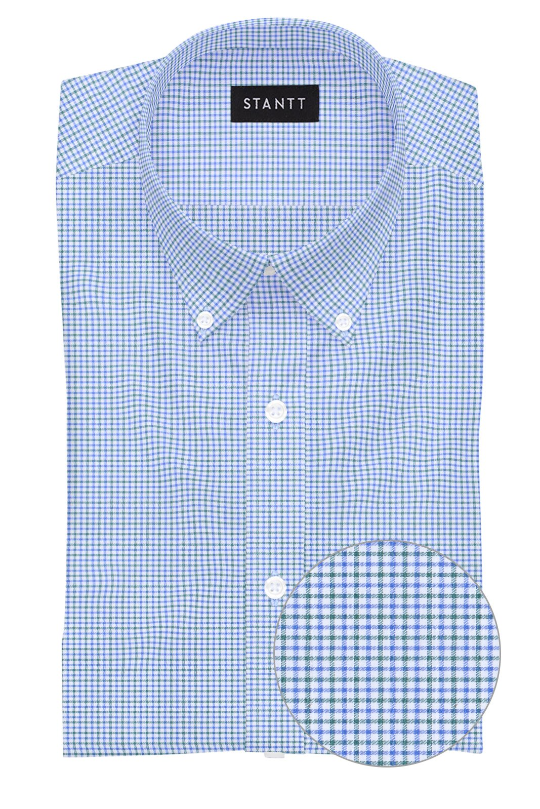 Green and Blue Mini Tattersall: Button-Down Collar, Barrel Cuff