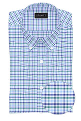 Green and Blue Multi Check: Button-Down Collar, Barrel Cuff