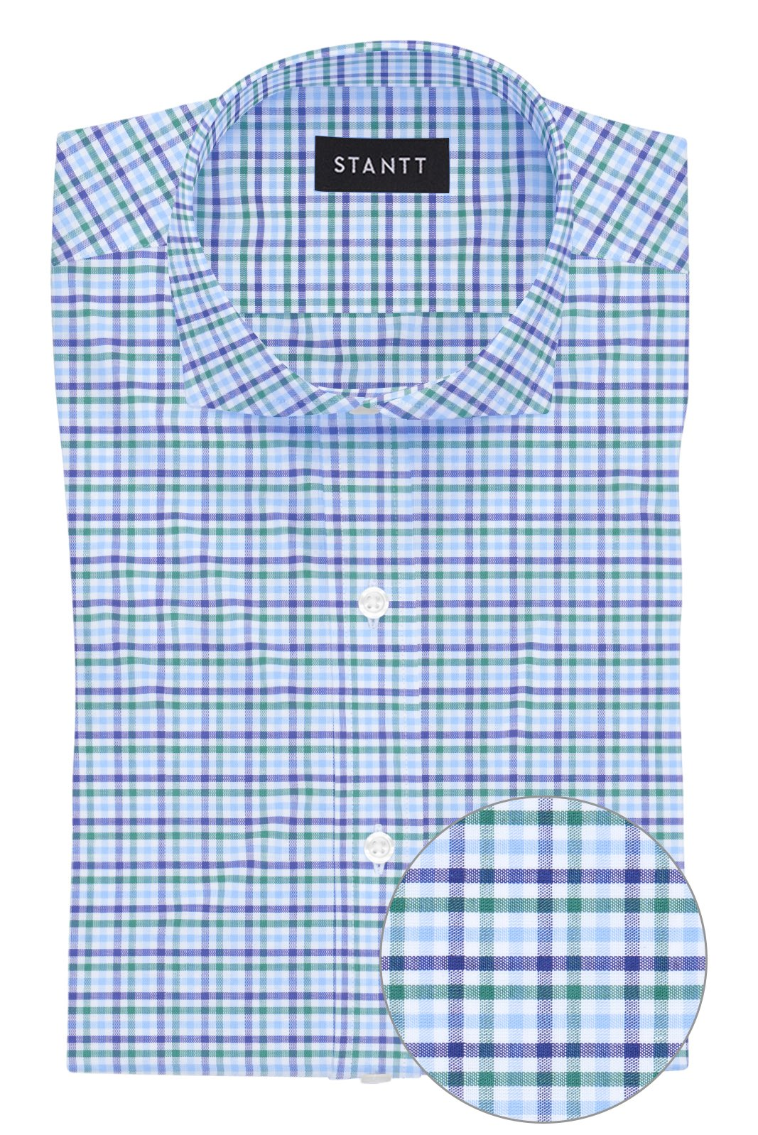 Green and Blue Multi Check: Cutaway Collar, French Cuff