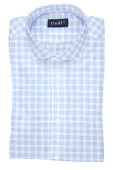 Heathered Blue Check: Cutaway Collar, French Cuff