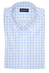 Heathered Blue Check: Button-Down Collar, Barrel Cuff