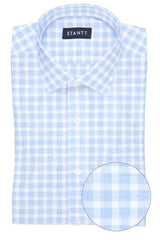 Heathered Blue Check: Modified-Spread Collar, Barrel Cuff