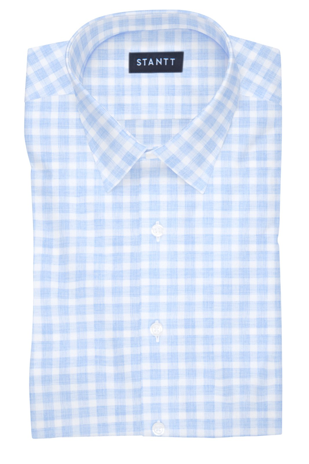 Heathered Blue Check: Semi-Spread Collar, Barrel Cuff