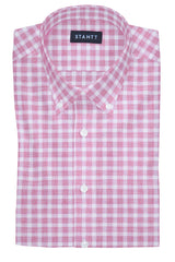 Heathered Brick Red Check: Button-Down Collar, Barrel Cuff