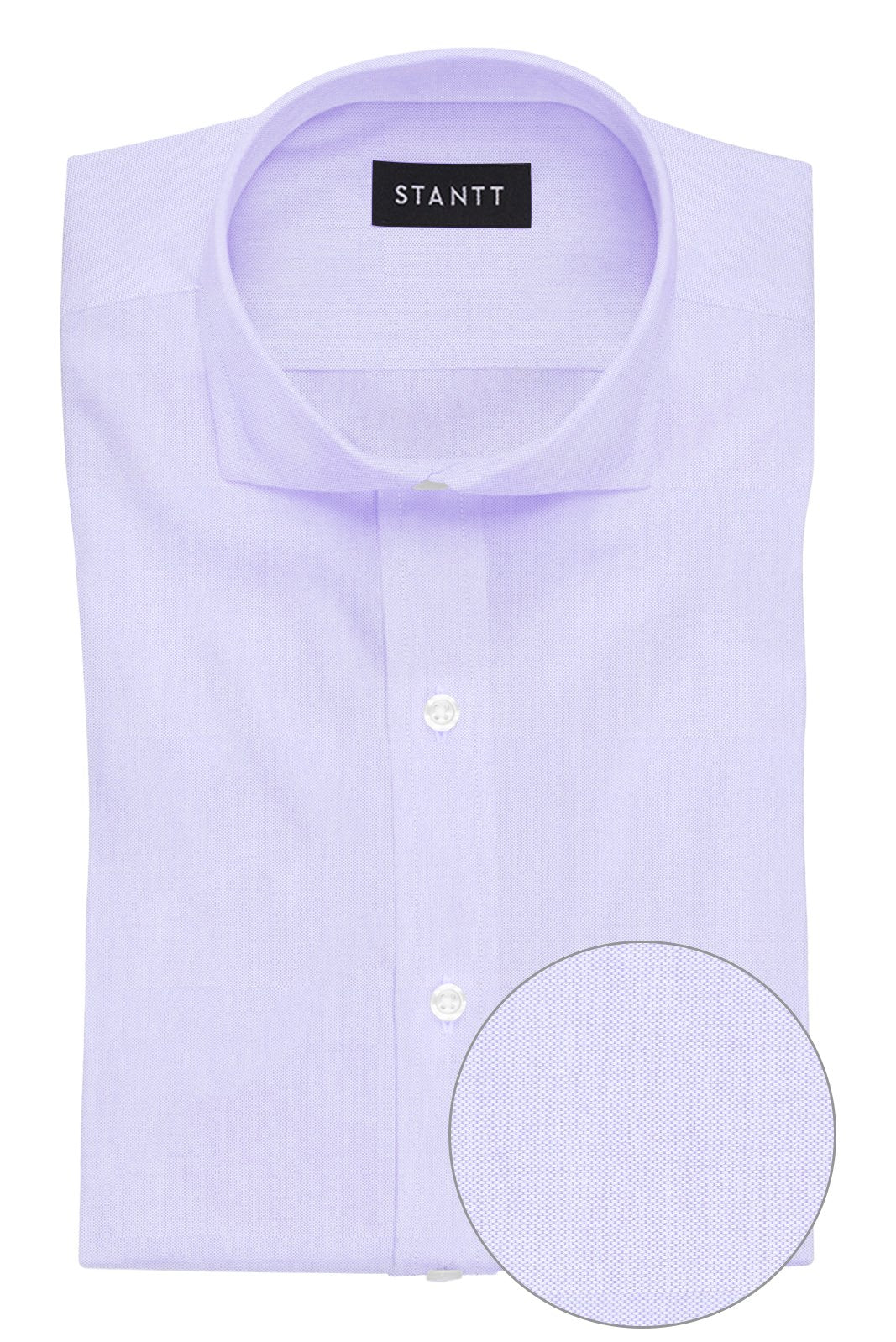 Lavender Pinpoint Oxford: Cutaway Collar, French Cuff
