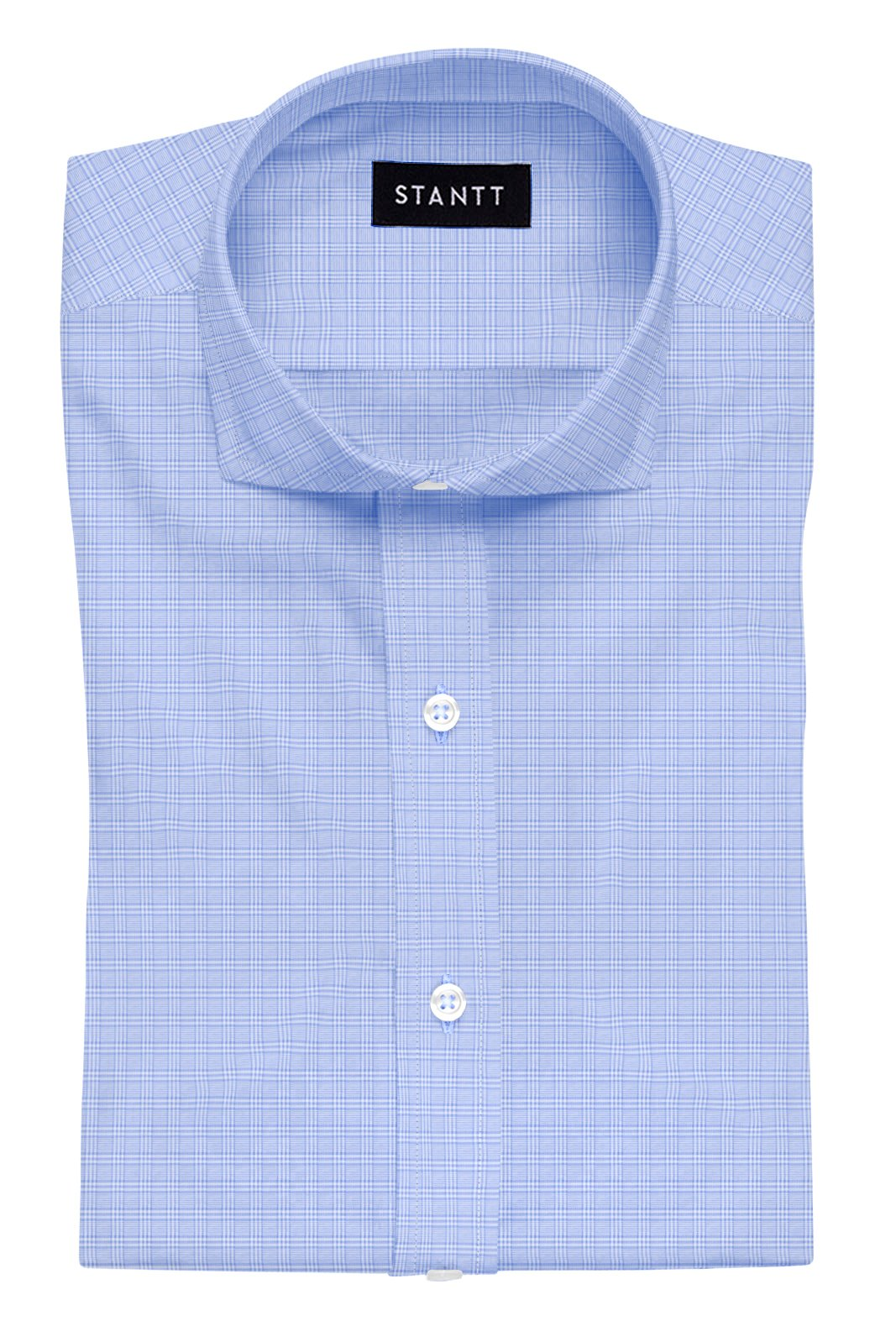 Light Blue Mini Raker Check: Cutaway Collar, French Cuff