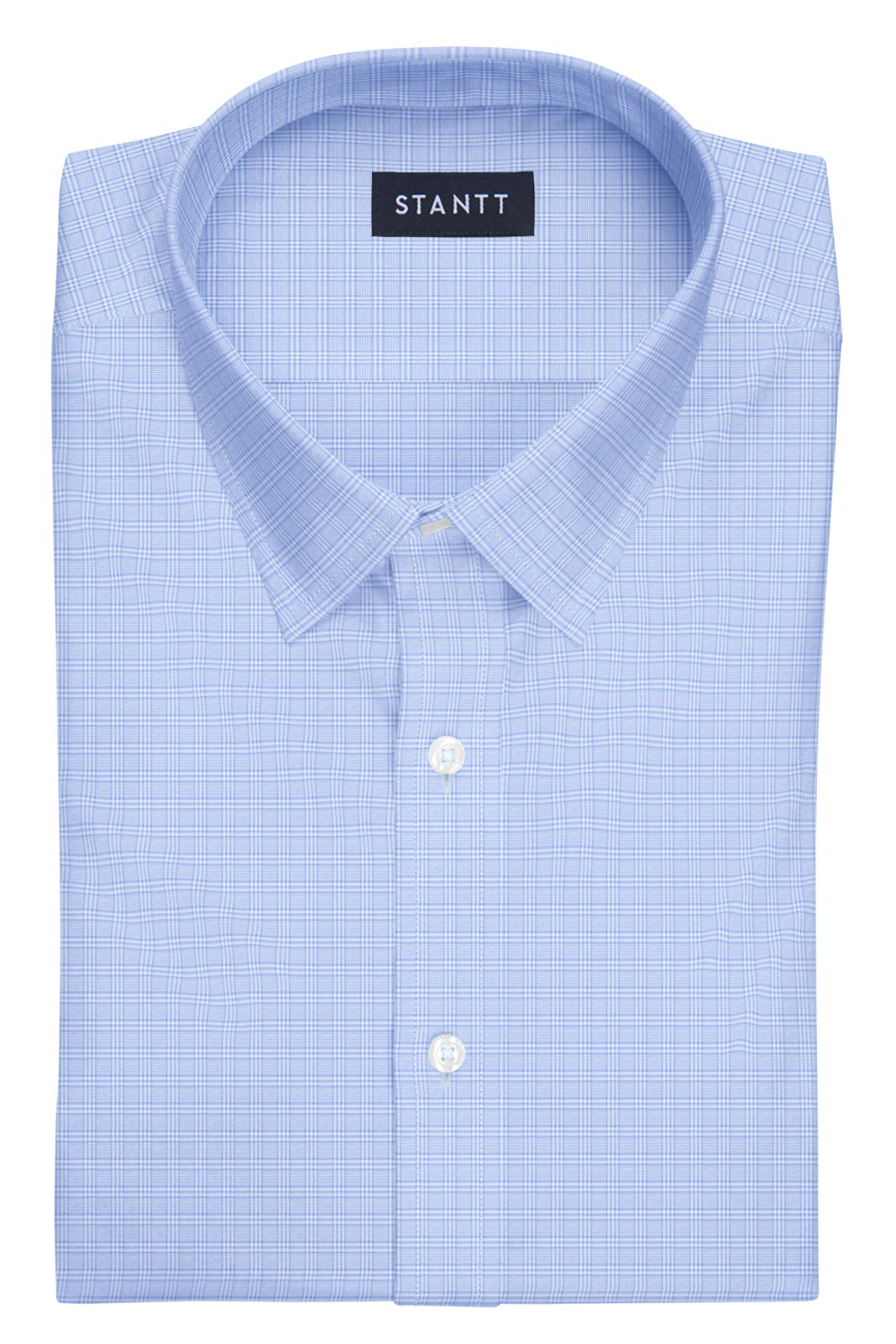 Light Blue Mini Raker Check: Semi-Spread Collar, Barrel Cuff