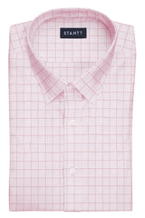 Light Pink Prince of Wales Check: Semi-Spread Collar, Barrel Cuff