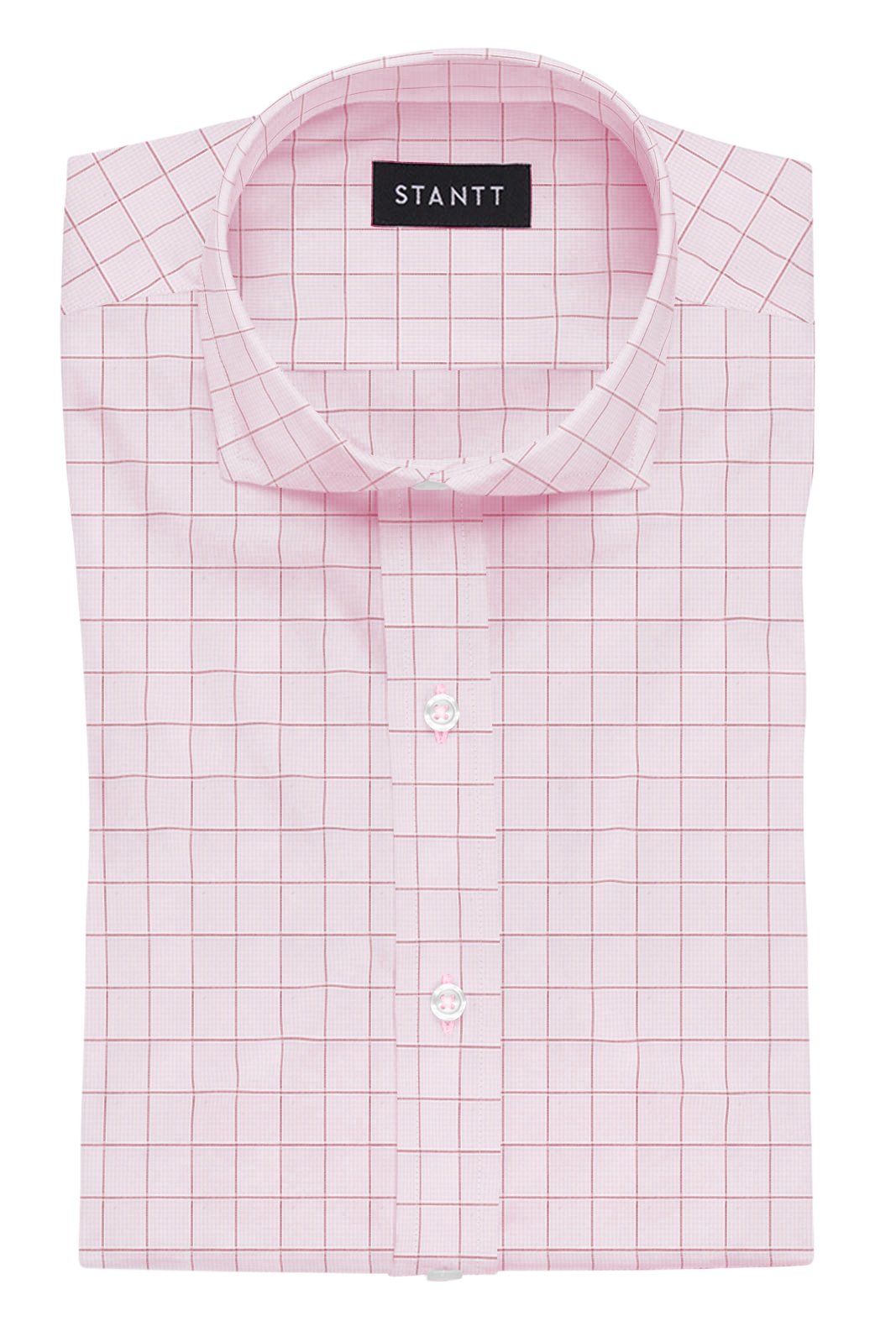 Light Pink Prince of Wales Check: Cutaway Collar, French Cuff