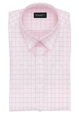 Light Pink Prince of Wales Check: Button-Down Collar, Barrel Cuff