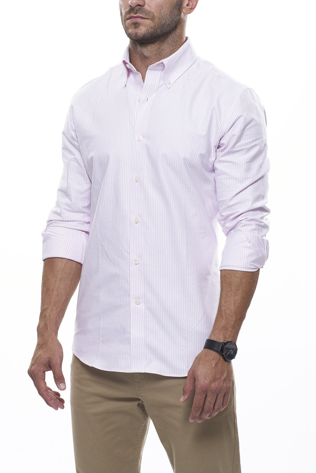 Light Pink Striped Oxford: Modified-Spread Collar, French Cuff