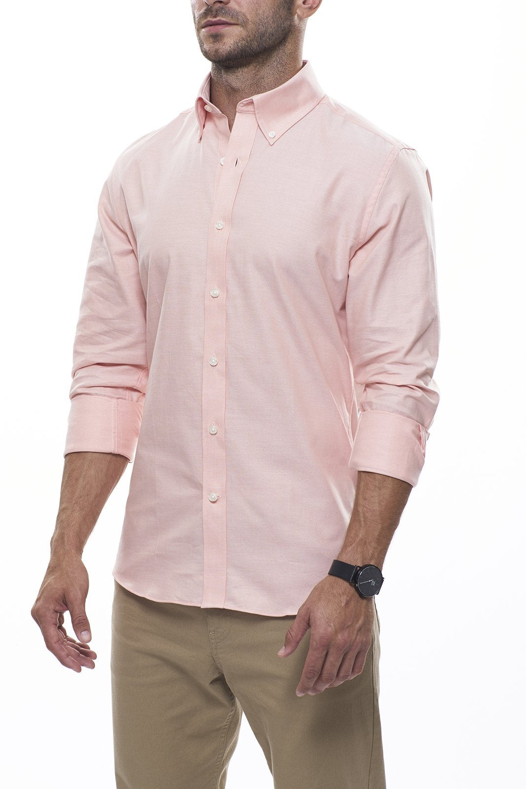 Lightweight Oxford in Orange: Semi-Spread Collar, Long Sleeve