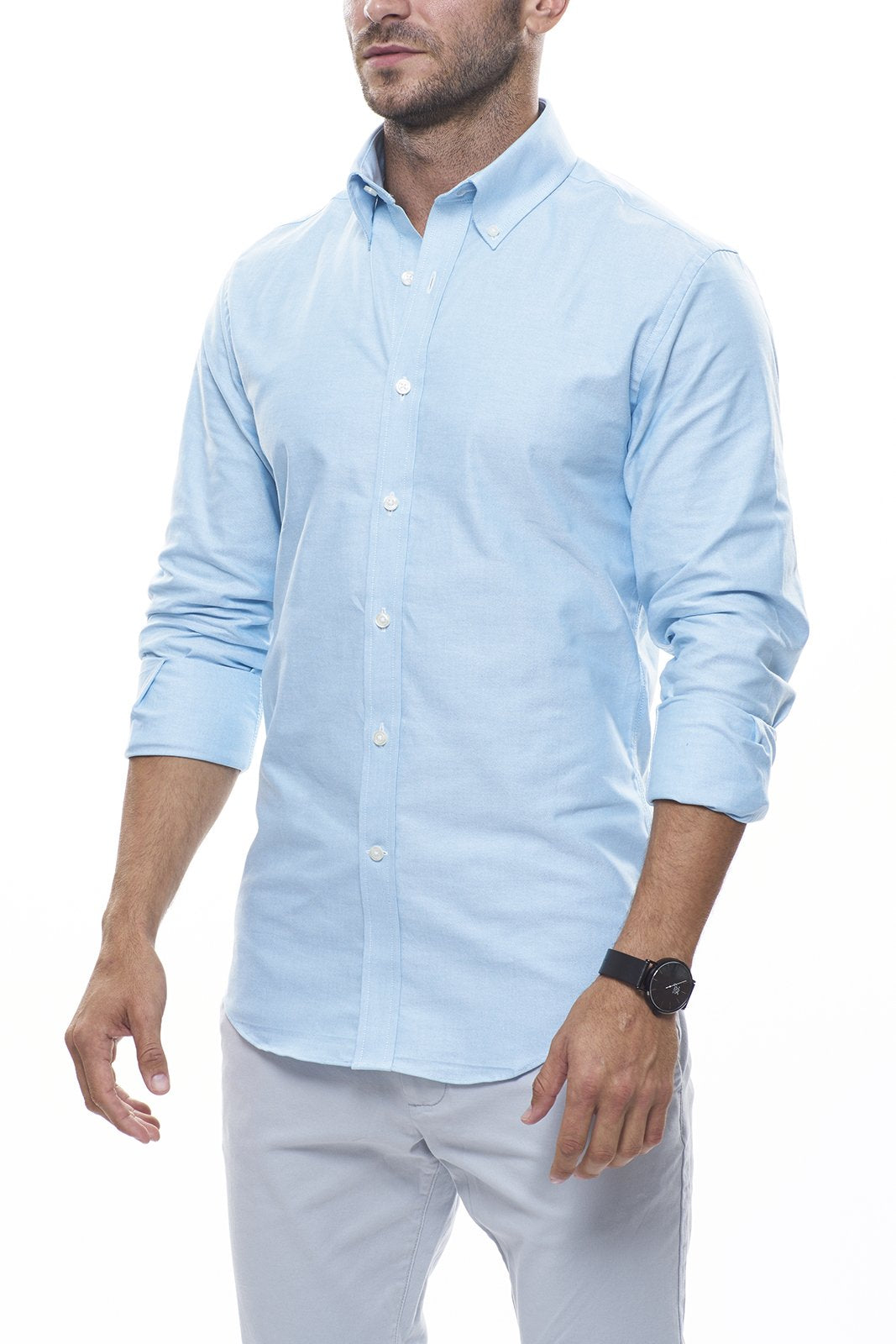Lightweight Oxford in Teal: Modified-Spread Collar, Long Sleeve