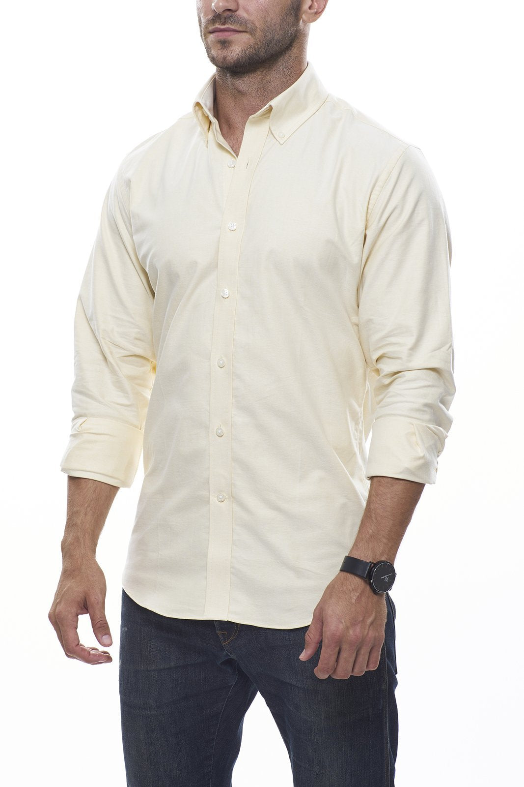 Lightweight Oxford in Yellow: Semi-Spread Collar, Long Sleeve