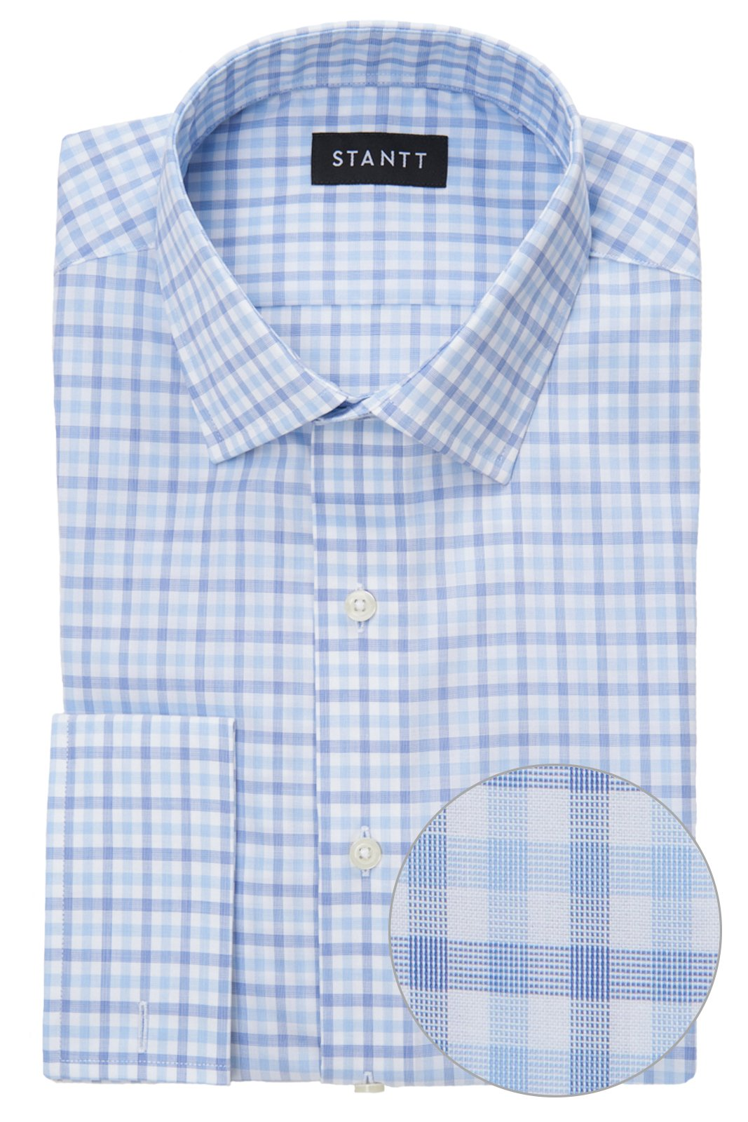 Wrinkle-Resistant Blue Cross Weave Tattersall: Modified-Spread Collar, French Cuff
