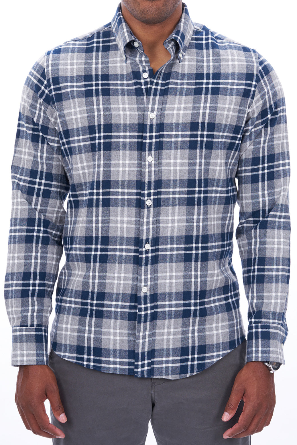 Navy Oversize Plaid: Button-Down Collar, Barrel Cuff