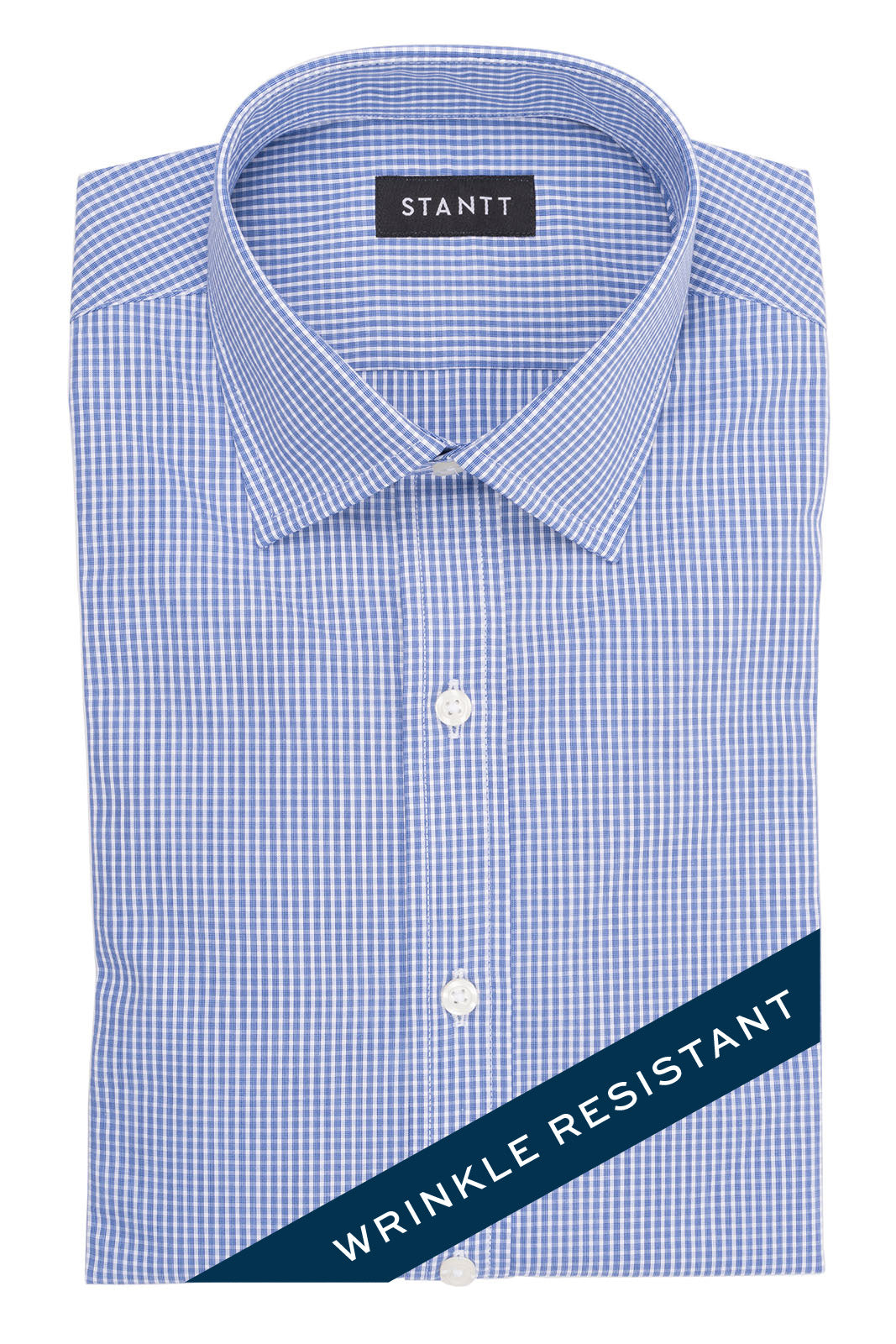 Wrinkle-Resistant Navy Mini Fineline Check