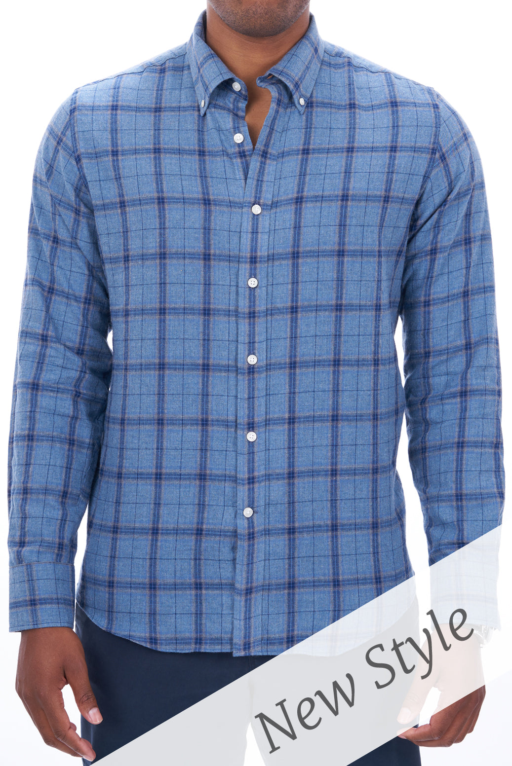 Muted Blue Oversize Plaid