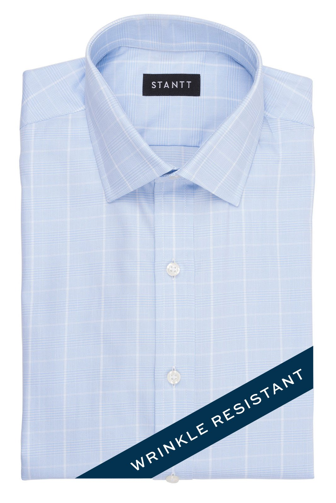 Wrinkle-Resistant Sky Blue Glen Plaid: Modified-Spread Collar, French Cuff