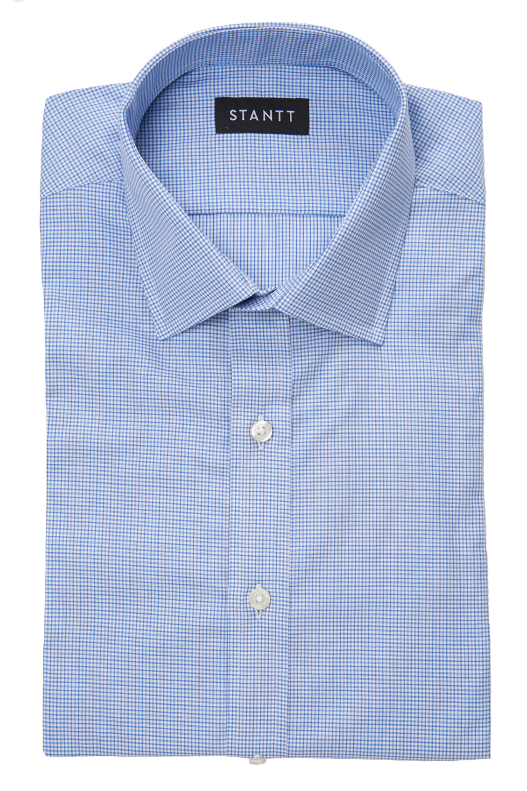 Mixed Blue Mini Tattersall: Semi-Spread Collar, Barrel Cuff