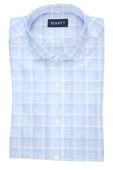 Melange Blue Web Check: Cutaway Collar, French Cuff