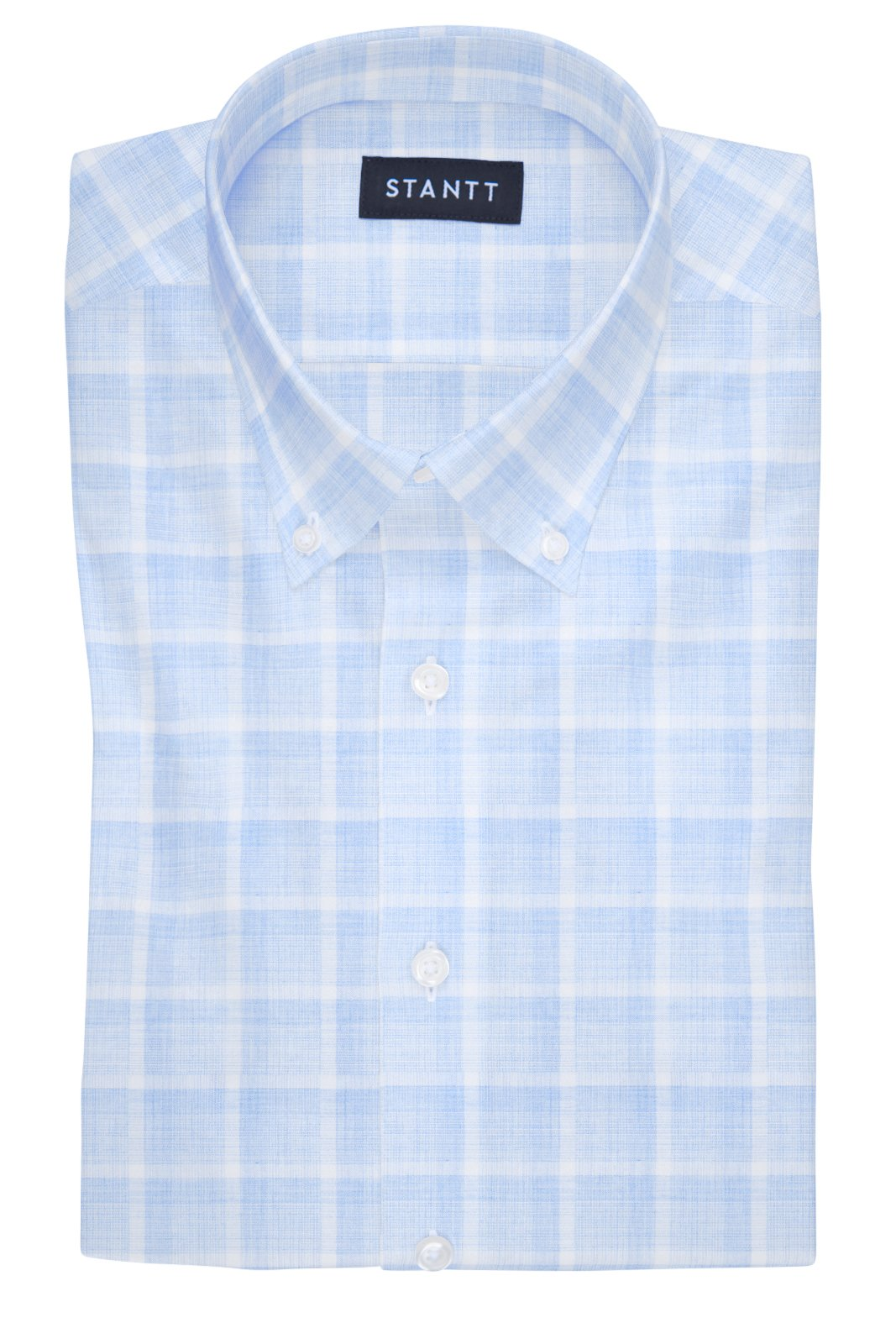 Melange Blue Web Check: Button-Down Collar, Barrel Cuff