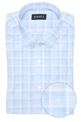 Melange Blue Web Check: Modified-Spread Collar, French Cuff