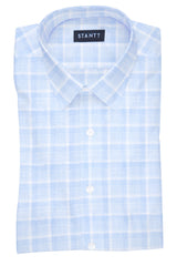Melange Blue Web Check: Semi-Spread Collar, Barrel Cuff