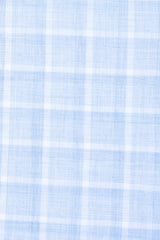Melange Blue Web Check: Semi-Spread Collar, French Cuff