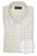 Melange Sand Web Check: Button-Down Collar, Barrel Cuff