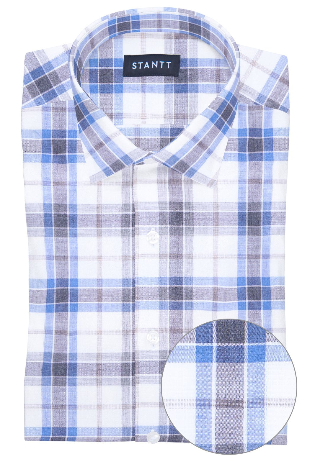Melange Smoke Blue Plaid: Modified-Spread Collar, Barrel Cuff