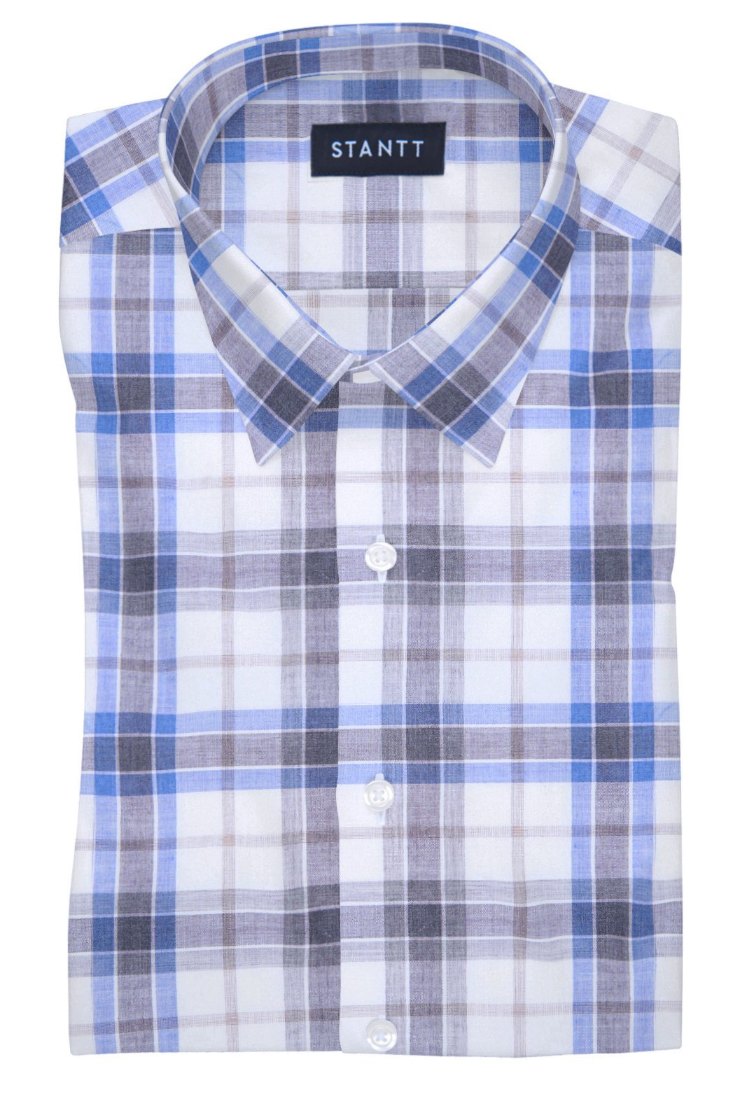 Melange Smoke Blue Plaid: Semi-Spread Collar, Barrel Cuff