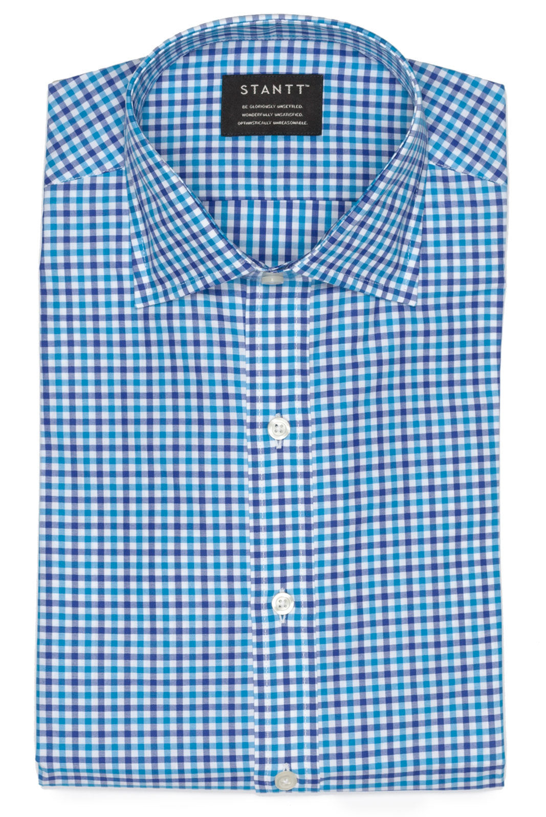 Navy and Aqua Gingham: Semi-Spread Collar, Barrel Cuff