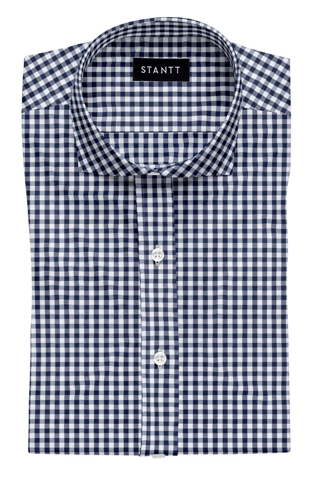 Navy Gingham: Cutaway Collar, Barrel Cuff