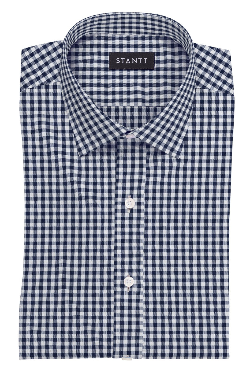 Navy Gingham: Modified Collar, Barrel Cuff